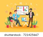 brainstorming creative team... | Shutterstock .eps vector #721425667