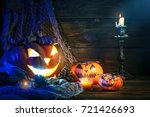 halloween pumpkins on a wooden... | Shutterstock . vector #721426693