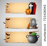 happy halloween banners | Shutterstock . vector #721428343