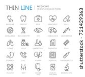 collection of medical thin line ... | Shutterstock .eps vector #721429363