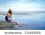 woman photographer taking photo ... | Shutterstock . vector #721433503