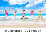 active girls on a beach    Shutterstock . vector #721448707