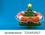 christmas tree with life buoy... | Shutterstock . vector #721451917