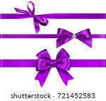 set of decorative purple bow... | Shutterstock .eps vector #721452583