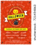 halloween celebrations. vintage ... | Shutterstock .eps vector #721454863