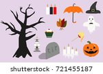 flat set of objects for the... | Shutterstock .eps vector #721455187
