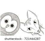 doodle owl and cat head vector... | Shutterstock .eps vector #721466287
