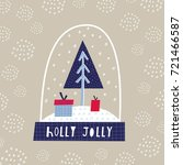 greeting card  holly jolly....   Shutterstock .eps vector #721466587
