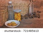 biscuit bottle and cookie dish...   Shutterstock . vector #721485613