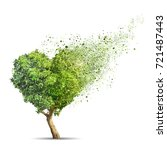 green tree shaped in heart... | Shutterstock . vector #721487443