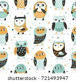 cute seamless pattern with owls ... | Shutterstock .eps vector #721493947