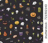 icons and halloween objects... | Shutterstock . vector #721502143