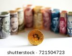 golden bitcoin coin on... | Shutterstock . vector #721504723