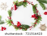 frame with christmas wreath ... | Shutterstock . vector #721516423