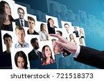 businessman hand going through... | Shutterstock . vector #721518373