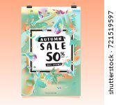 vector autumn sale poster... | Shutterstock .eps vector #721519597