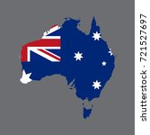 australia map with flag on grey ... | Shutterstock .eps vector #721527697