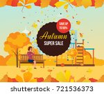 autumn super sale background... | Shutterstock .eps vector #721536373