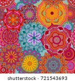 Stock vector seamless background pattern with mandalas eps vector 721543693