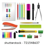 realistic stationery icon set... | Shutterstock .eps vector #721548637