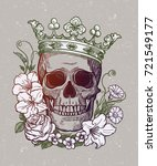 beautiful romantic skull with... | Shutterstock .eps vector #721549177