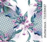 seamless pattern with weigela... | Shutterstock . vector #721550437