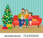 family sitting on sofa in the... | Shutterstock .eps vector #721553323