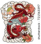 colorful japanese dragon with... | Shutterstock .eps vector #721563397