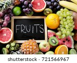 different fresh fruits. healthy ... | Shutterstock . vector #721566967