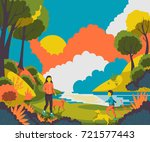 people walking with dogs in the ... | Shutterstock .eps vector #721577443