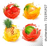 set of fruit juice splash.... | Shutterstock .eps vector #721591927