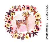 watercolor deer fawn among... | Shutterstock . vector #721596223