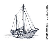 boat ink drawn yacht hand... | Shutterstock .eps vector #721603387