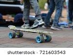 skateboard with skateboarder in ... | Shutterstock . vector #721603543