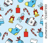 cute christmas pattern with... | Shutterstock .eps vector #721607353