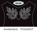 decorative leaves in embroidery ... | Shutterstock .eps vector #721616317