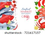 vector seafood. tuna  salmon ... | Shutterstock .eps vector #721617157