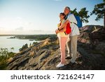 loving senior couple hiking ... | Shutterstock . vector #721624147