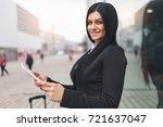 young beautiful business woman... | Shutterstock . vector #721637047