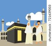 muslim pilgrims perform hajj  ... | Shutterstock .eps vector #721639003