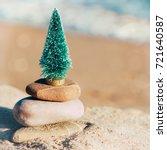 miniature of a christmas tree... | Shutterstock . vector #721640587