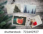 Small photo of Photo album in remembrance and nostalgia in Christmas (winter season) on wood table