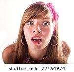 amazemented beautiful girl   Shutterstock . vector #72164974