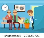 elderly couple and cat at... | Shutterstock .eps vector #721660723