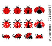 cute ladybug vector icons.... | Shutterstock .eps vector #721660957