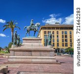 Small photo of Equestrian statue of Napoleon, surrounded by his four brothers in Place de Gaulle, Ajaccio in Corsica