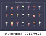 cocktails with vermouth guide ... | Shutterstock . vector #721679623