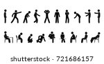 raster set of stick figure... | Shutterstock . vector #721686157