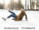 senior woman on the ice after a ... | Shutterstock . vector #721686643