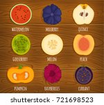 vector icons of sliced fruits.... | Shutterstock .eps vector #721698523
